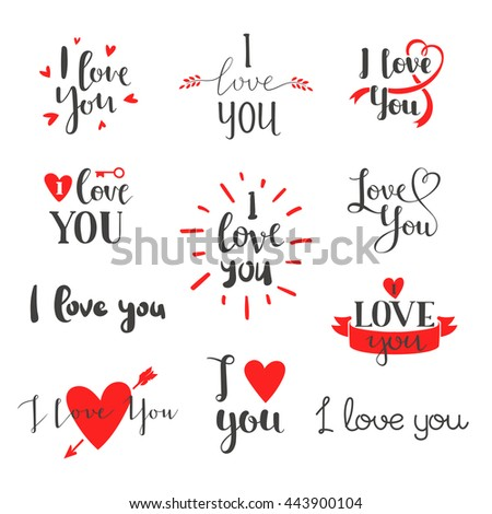 vector i love you hand drawn