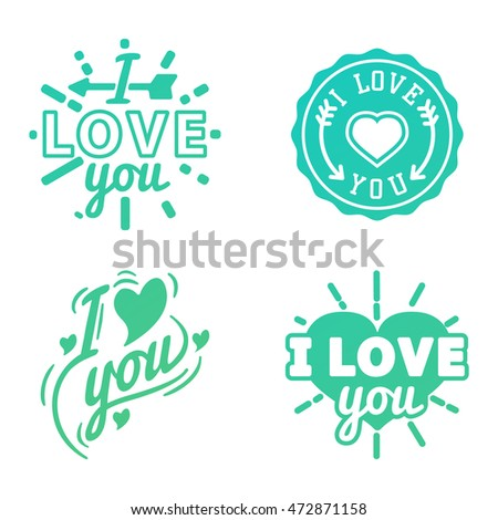 Shutterstock Vector I love You photo badges, modern lettering collection, inspirational text