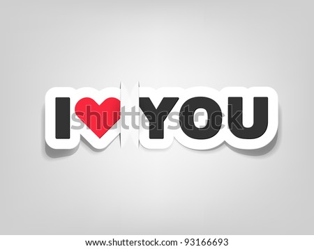 vector i love you; realistic cut, takes the background color