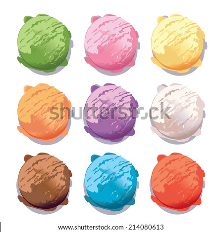 vector ice cream scoops