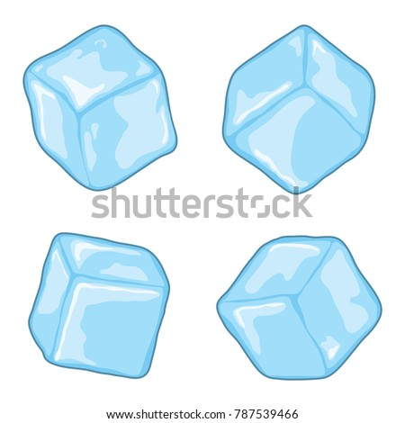 vector ice cubes isolated on white background. blue, transparent ice cube chunks
