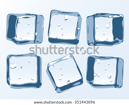vector ice cubes set