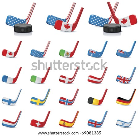 Vector ice hockey sticks country flags icons, Part 2