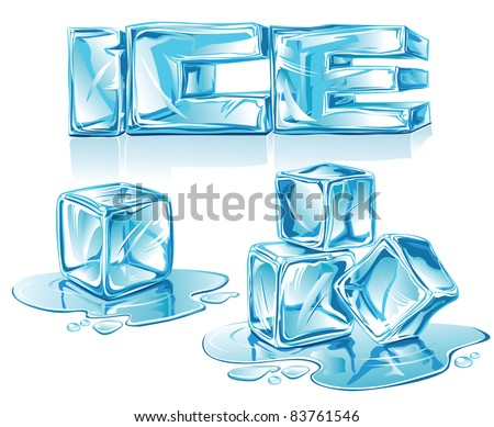 Vector Ice Letters And Cubes On White Background