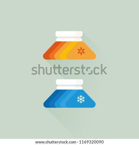 vector ice pack or hot pack / pain management concept / flat, isolated, sign and icon template