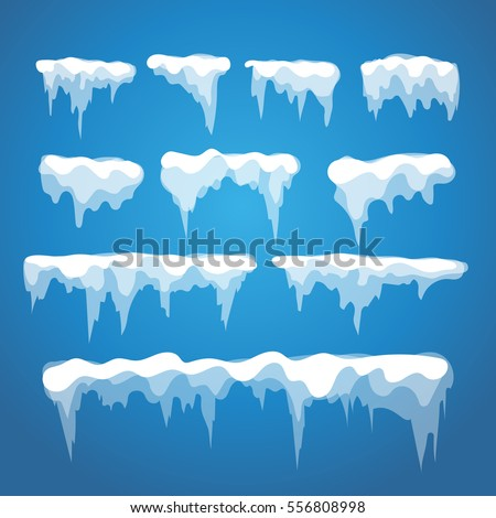 Vector icicle and snow elements on blue background. Different snow cap isolated on 