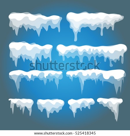 Vector icicles and snow elements on blue background.