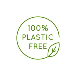 Vector icon and logo design template in simple linear style - 100 % plastic free emblem for packaging eco-friendly and organic products