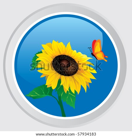 Vector icon. Button with the flower sunflower and butterfly