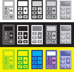 vector icon, calculator icon. drawing calculator with several different styles. vector calculator image that can be edited for complete article icons, web pages, icon designs. etc