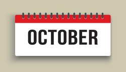 Vector icon calendar autumn month - October. Horizontal sign of the season. Vector icon illustration. Date day of month Sunday, Monday, Tuesday, Wednesday, Thursday, Friday, Saturday. Holidays date.