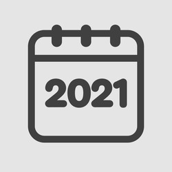 Vector icon calendar year - 2021. Vector illustration. Annual date, meeting, appointment.