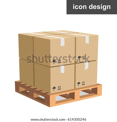 Vector icon cargo boxes pallet