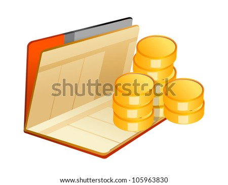 vector icon cash and bankbook