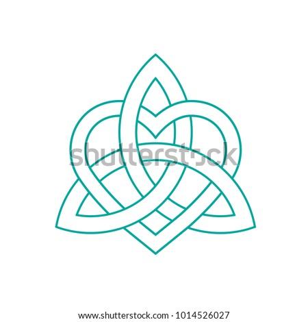 Vector icon: Celtic knot, triquetra cross or Trinity symbol with heart shape. Gaelic or Celtic medieval style knotwork, known as Icovellavna, of Holy Trinity isolated.