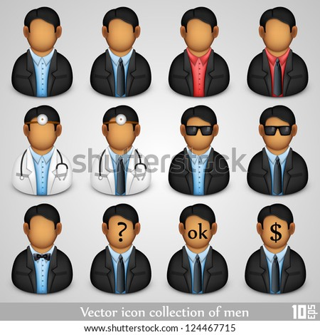 Vector icon collection of men
