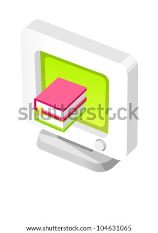 Vector icon computer and book