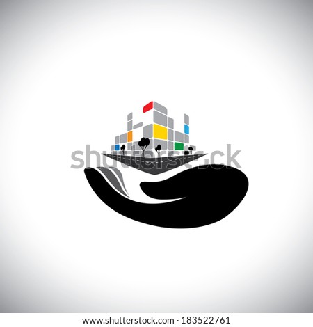 vector icon - concept of buying house, home, property. This graphic of woman's hand with building can also represent purchasing assets, creating wealth, real estate market, owning residential property