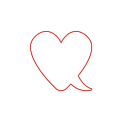 Vector icon concept of heart-shaped speech bubble. White background and colored outlines.