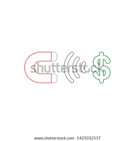 Vector icon concept of magnet attracting dollar symbol. White background and colored outlines.
