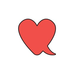 Vector icon concept of red heart-shaped speech bubble. Black outlines and colored.