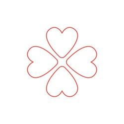 Vector icon concept of rotated four hearts. White background and colored outlines.