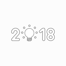 Vector icon concept of year of 2018 with glowing light bulb. Black outlines.