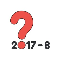 Vector icon concept of year of 2017 with question mark and number 8. Black outlines and colored.