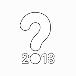 Vector icon concept of year of 2018 with question mark. Black outlines.