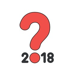 Vector icon concept of year of 2018 with red question mark.