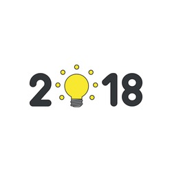 Vector icon concept of year of 2018 with yellow glowing light bulb.
