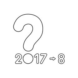 Vector icon concept of year 2017 with question mark and number 8. Black outlines.