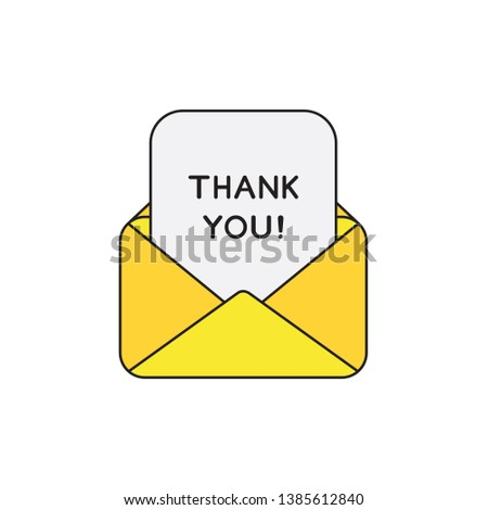 Vector icon concept of yellow open envelope mail or message with thank you written on paper. Black outlines and colored. Black outlines and colored.