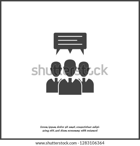 Vector icon crowd of businessman. A lot of people. Group of people chat, message icon on white isolated background. Layers grouped for easy editing illustration. For your design.