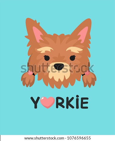 Vector Icon dog girl Yorkshire Terrier. Text: I love  Yorkie.