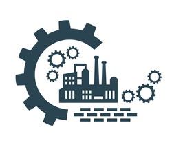 Vector icon, factory logo, factory logo. Industrial facility.