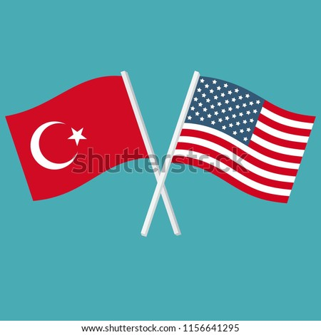 Vector icon flags of America and Turkey. The US and Turkish flags are crossed and waving. Flags in flat design