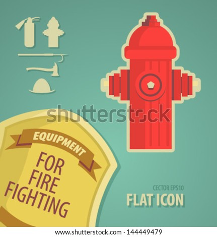 vector icon flat firefighter