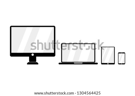 Vector icon for devices. Set for devices. Empty screens. Desktop. Mobile. Laptop. Tablet. Flat design. EPS 10.