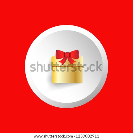 Vector icon for golden gift box with red ribbon bow inside white pin #1239002911