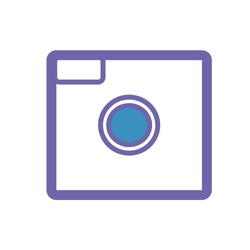 vector icon for instagram camera.lens .icon for dark blue and light blue applications
