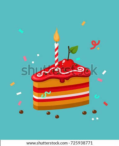 vector Icon fruit biscuit cake with cherry. Image Happy Birthday cake. Cake with striped candles.