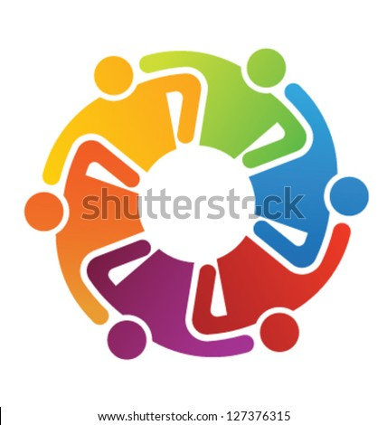 Vector Icon Graphic Teamwork Hug 6 -Group of People