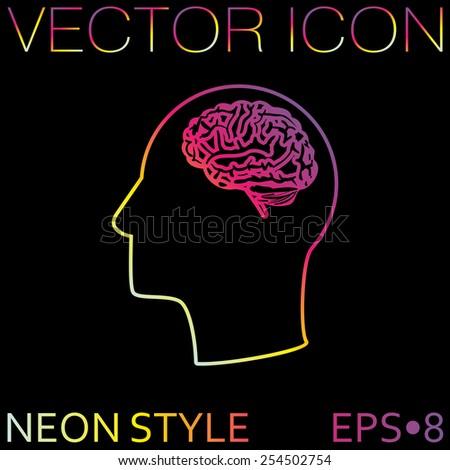 vector icon head think