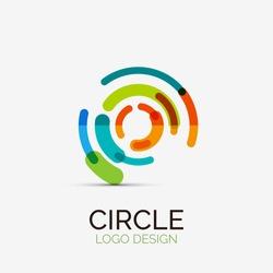 Vector icon, hi-tech circle company logo design, business symbol concept, minimal line style