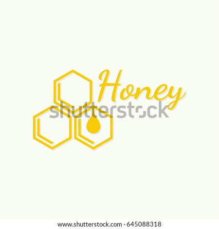 Vector icon honeycomb. Logo with yellow honey comb. Hexagon and drop. Iisolated illustration. Contemporary modern style design.