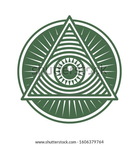 Vector icon human world eye in engraved style. One global color. Illuminati logo, world order symbol all-seeing eye of providence