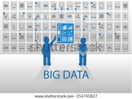Vector icon illustration in flat design with blue and grey for big data concept. Two persons standing in front of business intelligence information dashboard in order to analyze business data points.