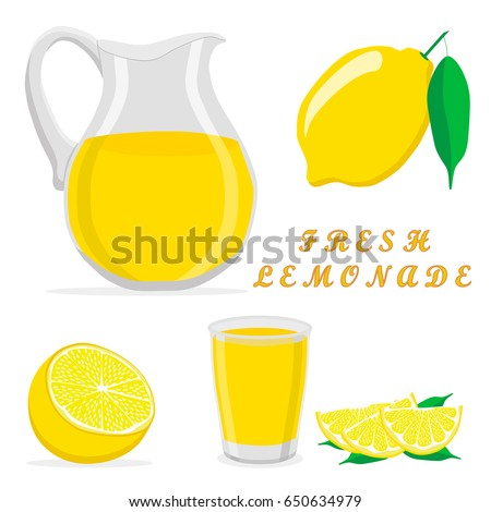 Vector icon illustration logo yellow jug, liquid lemonade, lemon background. Jug pattern consisting of glass pitcher filled waters lemonades, natural product. Lemonade, drink fresh raw liquid of jugs.