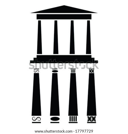 Vector icon illustration of ancient Greek style temple or building. For jpeg version, please see my portfolio.